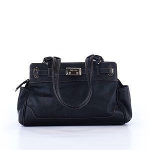 Chaps Pebbled Faux Leather Black Shoulder Bag